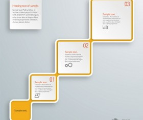 3D paper infographic template vectors material 15