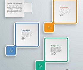 3D paper infographic template vectors material 18