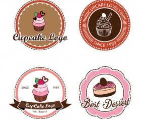 4 Kind cake labels with badge vector