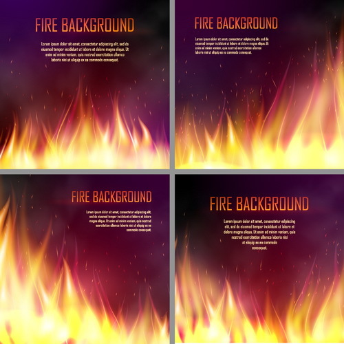4 Kind fire background vectors