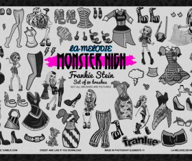 80 Monster High Frankie Stein Photoshop Brushes