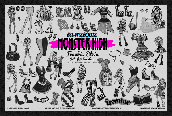 80 Monster High Frankie Stein Photoshop Brushes free download
