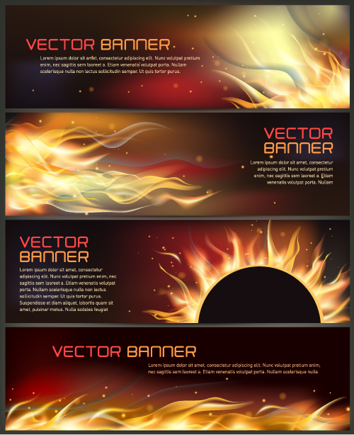 Abstract fire banner vector material
