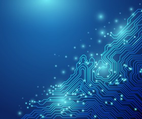 Abstract lines technology on blue background chipset concept vector