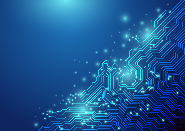 Blue Technology Abstract Background: Abstract Lines Technology On Blue Background Chipset