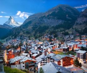 Alpine vacation town Stock Photo