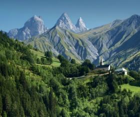 Alps mountain meadow landscape Stock Photo 01