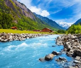 Alps mountain meadow landscape Stock Photo 04