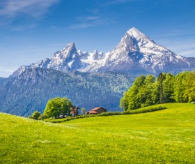 Alps mountain meadow landscape Stock Photo 08