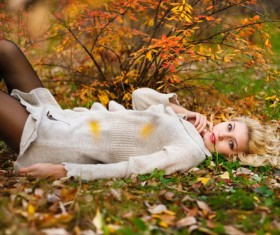 Autumn girl outdoor photo Stock Photo