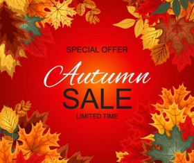 Autumn leaves frame with sale background vector