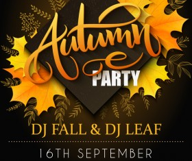 Autumn party flyer template vectors 01