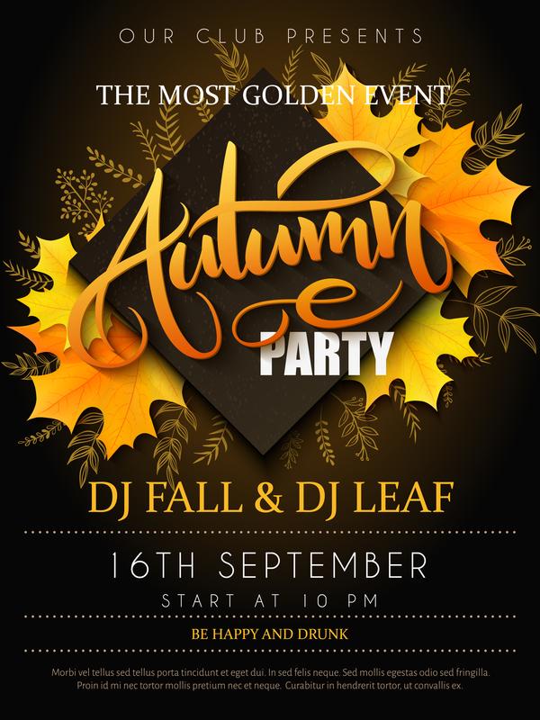 Autumn party flyer template vectors 01