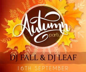 Autumn party flyer template vectors 02
