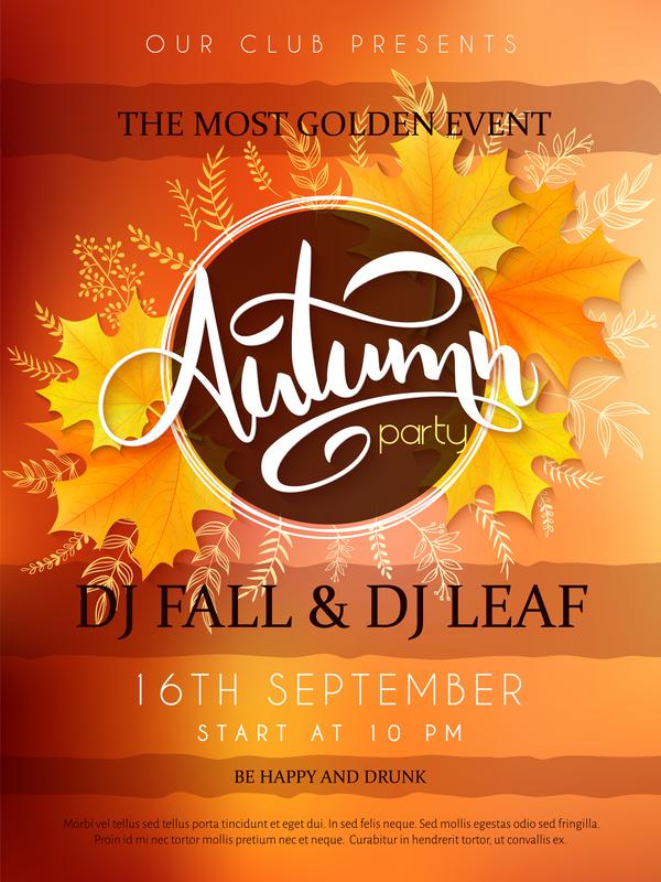 Autumn party flyer template vectors 02