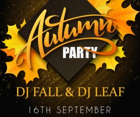Autumn party flyer template vectors 03