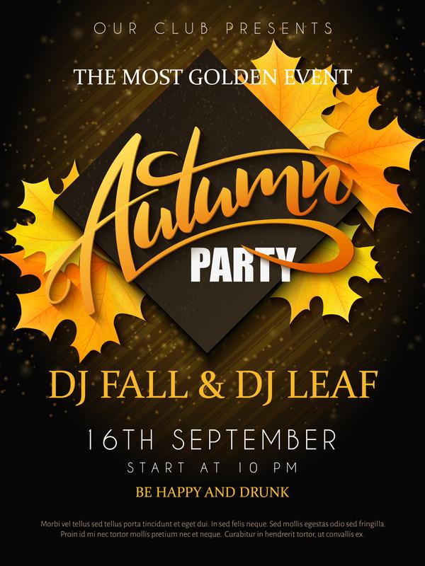 Autumn party flyer template vectors 03