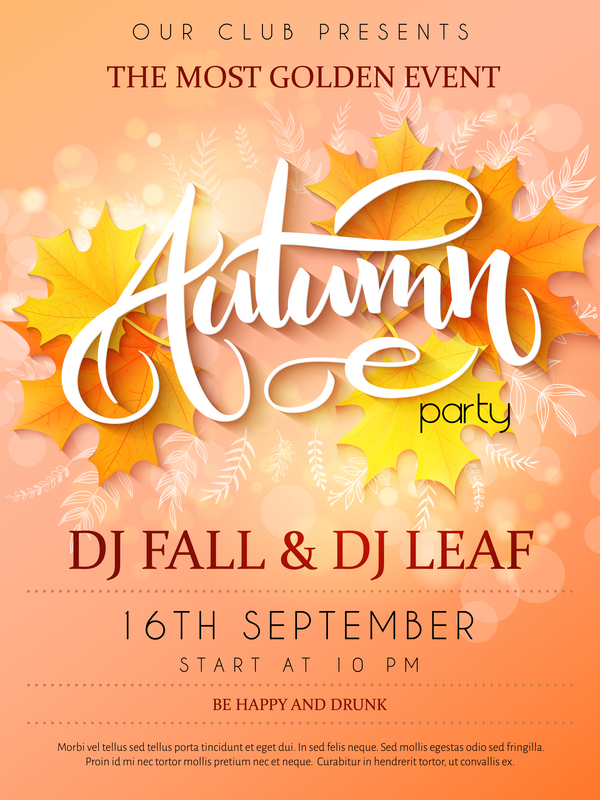 Autumn party flyer template vectors 04