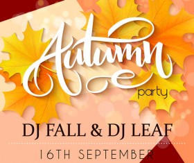 Autumn party flyer template vectors 05