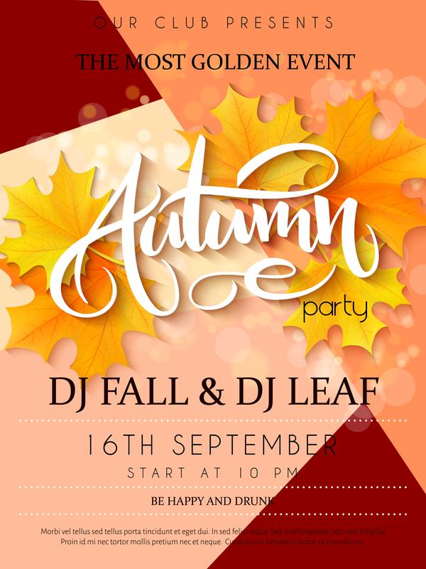 Autumn party flyer template vectors 05