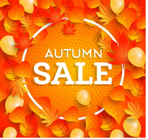 Autumn sale frame with leaves vector