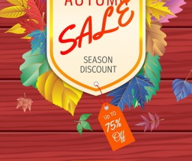 Autumn sale with wooden background vector