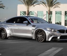 BMW M4 modified silver sports car Stock Photo