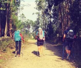 Backpack hiking Stock Photo