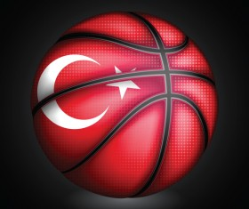 Basketball with turkish sign vector material 01