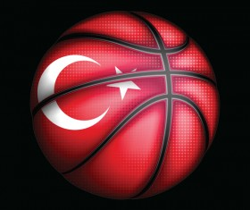 Basketball with turkish sign vector material 02
