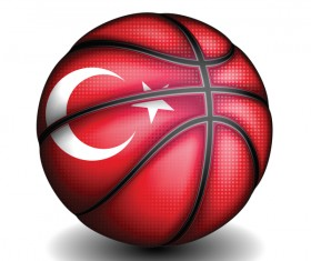 Basketball with turkish sign vector material 03