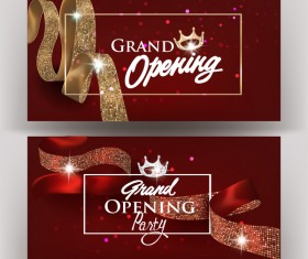 Beautiful grand opening invitation banners with silk ribbons vector