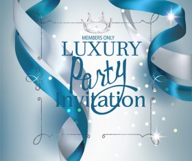 Beautiful invitation card with silk white and blue ribbons vector