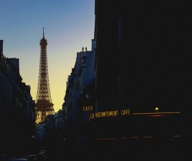 Beautiful paris corner at night Stock Photo