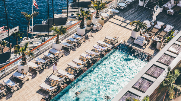 Beautiful swimming pool on marina from high view Stock Photo