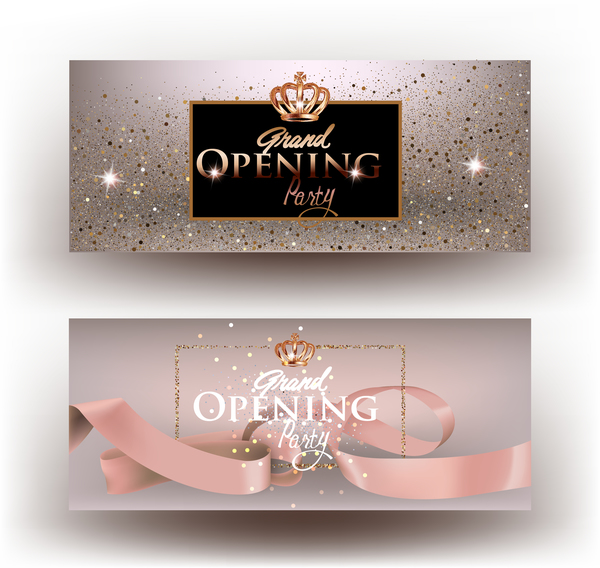 Beige grand opening party invitation cards with sparkling dust and ribbon vector