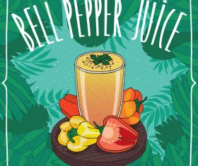 Bell pepper juice poster vector
