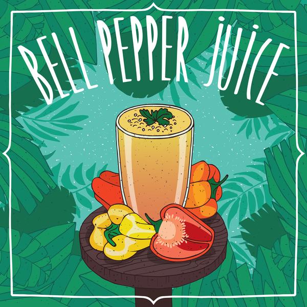 Bell pepper juice poster vector