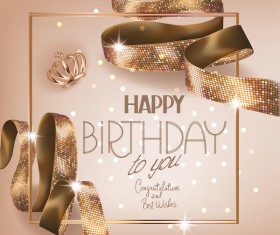 Birhtday greeting card with gold curly ribbon vector