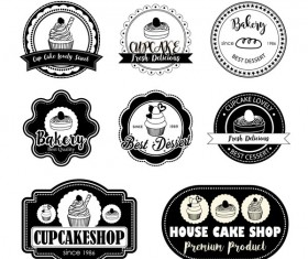 Black cup cake labels with badge vector