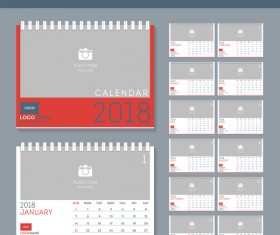 Blank red disk calendar 2018 templates vector