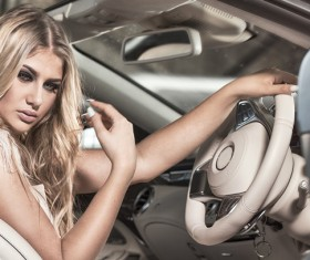 Blond girl with luxury cars Stock Photo 01
