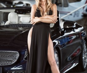 Blond girl with luxury cars Stock Photo 07