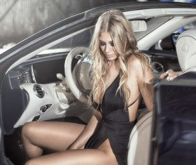 Blond girl with luxury cars Stock Photo 09