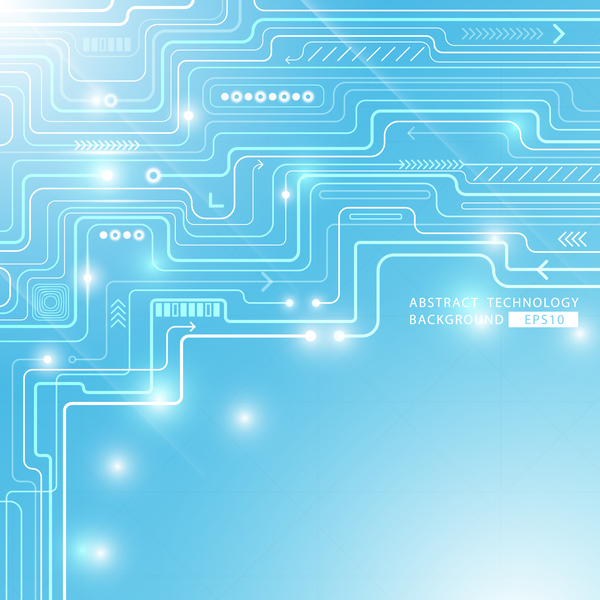 Blue abstract circuit technology background vector design