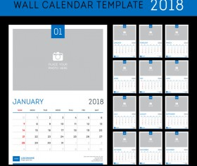 Blue calendar 2018 templates vector