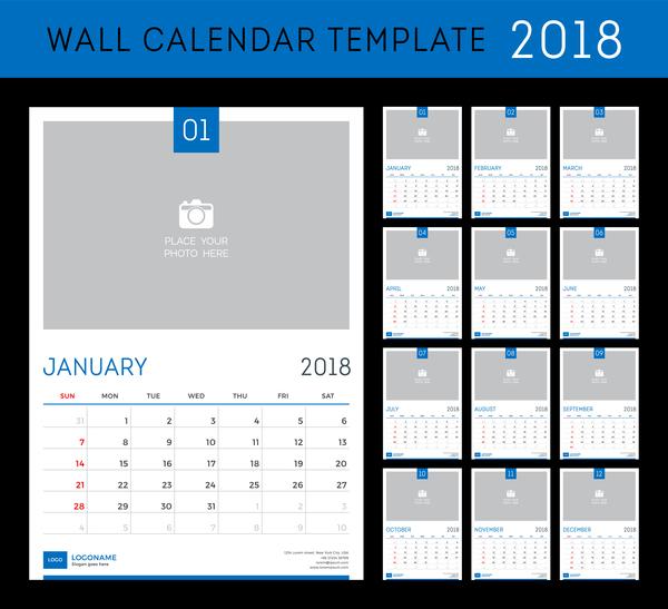 Blue calendar 2018 templates vector