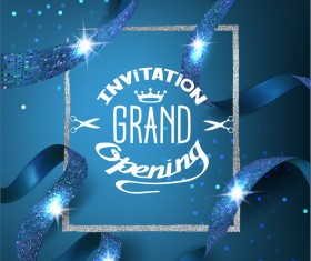 Blue grand opening invitation card with blue ribbons with pattern and silver frame vector