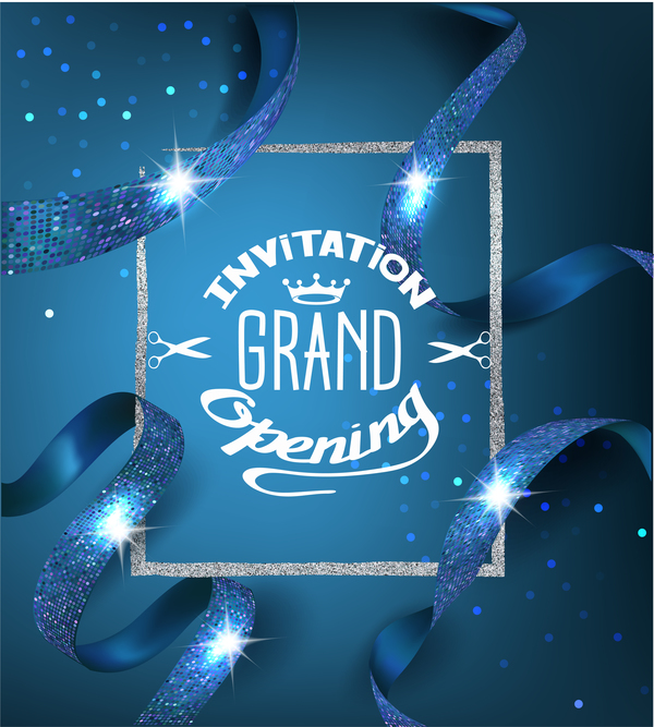 Blue Grand Opening Invitation Card With Blue Ribbons With