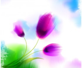 Blurs flower illustration vector 01